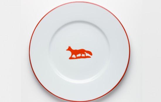 Chasse Plat Renard Orange - Orange Hunting Round Plate