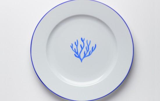 Corail Assiette Bleu - Blue Coral Dinner plate