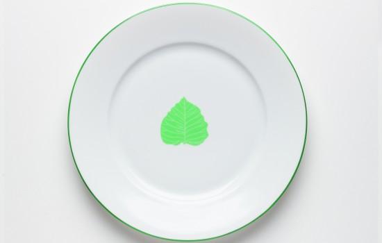 Feuilles Assiette Prunier des Pagodes Vert - Green Leaf of Sheet pagodas Dinner Plate