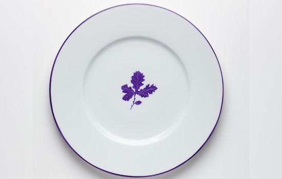 Feuilles Plat Chene Violet - Purple Oak Leaf Round Plate