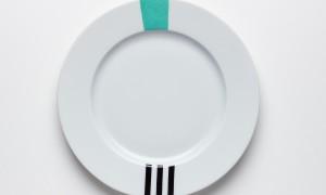 Assiette à dessert Turquoise & Noir (21cm)