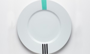 Round platter Turquoise & Black (32cm)